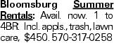 Bloomsburg Summer Rentals: Avail. now. 1 to 4BR. Incl. appls., trash, lawn care, $450. 570-317-0258