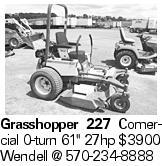 Grasshopper 227 Comercial 0-turn 61'' 27hp $3900 Wendell @ 570-234-8888