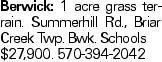 Berwick: 1 acre grass terrain. Summerhill Rd., Briar Creek Twp. Bwk. Schools $27,900. 570-394-2042