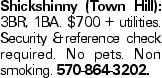 Shickshinny (Town Hill): 3BR, 1BA. $700 + utilities. Security &reference check required. No pets. Non smoking. 570-864-3202.