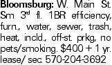 Bloomsburg:W. Main St. Sm 3rd fl. 1BR efficiency, furn., water, sewer, trash, heat, incld., off-st. prkg, no pets/smoking. $400 + 1 yr. lease/ sec. 570-204-3692