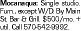 Mocanaqua: Single studio. Furn., except W/D. By Main St. Bar & Grill. $500/mo. +util. Call 570-542-9992.
