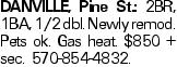 DANVILLE, Pine St.: 2BR, 1BA, 1/2 dbl. Newly remod. Pets ok. Gas heat. $850 + sec. 570-854-4832.