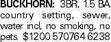 Buckhorn: 3BR, 1.5 BA country setting, sewer, water incl, no smoking, no pets. $1200 570764 6238