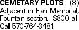 CEMETARYPLOTS:(8) Adjacent in Elan Memorial, Fountain section. $800 all. Call 570-764-3481