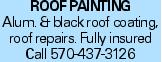 ROOFPAINTING Alum. & black roof coating, roof repairs. Fully insured Call 570-437-3126