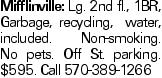 Mifflinville: Lg. 2nd fl., 1BR, Garbage, recycling, water, included. Non-smoking. No pets. Off St. parking. $595. Call 570-389-1266