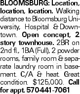 Bloomsburg:Location, location, location. Walking distance to Bloomsburg University, Hospital &Downtown. Open concept, 2 story townhouse. 2BR on 2nd fl., 1BA (Full), 2 powder rooms, family room &separate laundry room in basement. C/A & heat. Great condition. $125,000. Call for appt. 570-441-7061