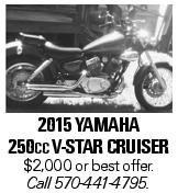 2015 YAMAHA 250cc V-STAR CRUISER $2,000 or best offer. Call 570-441-4795.