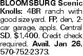 BloomsburgScenic Knolls: 4BR ranch with good size yard. FP, den, 2-car garage, appls. Central SD. $1,400. Credit check required. Avail. Jan 26. 570-752-2373.