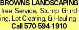 Browns LANDSCAPING Tree Service, Stump Grinding, Lot Clearing, & Hauling Call 570-594-1910