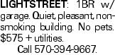 Lightstreet: 1BR w/ garage. Quiet, pleasant, non- smoking building. No pets. $575 + utilities. Call 570-394-9667.