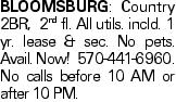 BLOOMSBURG: Country 2BR, 2nd fl. All utils. incld. 1 yr. lease & sec. No pets. Avail. Now! 570-441-6960. No calls before 10 AM or after 10 PM.