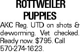 rottweiler puppies AKC Reg. UTD on shots & de-worming. Vet checked. Ready now. $795. Call 570-274-1623.