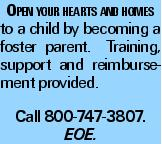 Open your hearts and homes to a child by becoming a foster parent. Training, support and reimbursement provided. Call 800-747-3807. EOE.