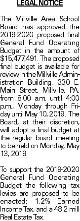 LEGAL NOTICE The Millville Area School Board has approved the 2019-2020 proposed final General Fund Operating Budget in the amount of $15,477,491. The proposed final budget is available for review in the Millville Administration Building, 330 E. Main Street, Millville, PA, from 8:00 a.m. until 4:00 p.m., Monday through Friday until May 10, 2019. The Board, at their discretion, will adopt a final budget at the regular board meeting to be held on Monday, May 13, 2019. To support the 2019-2020 General Fund Operating Budget the following tax levies are proposed to be enacted: 1.2% Earned Income Tax, and a 48.2 mill Real Estate Tax.