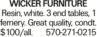 WICKER FURNITURE Resin, white. 3 end tables, 1 fernery. Great quality, condt. $100/all. 570-271-0215