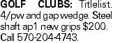 GOLF CLUBS: Titlelist. 4/pw and gap wedge. Steel shaft ap1 new grips $200. Call 570-204-4743.