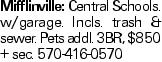 Mifflinville: Central Schools. w/garage. Incls. trash & sewer. Pets addl. 3BR, $850 + sec. 570-416-0570