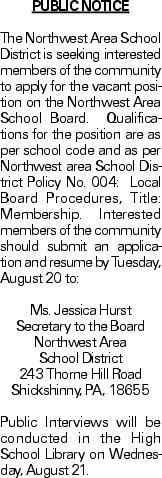 PUBLICNOTICE The Northwest Area School District is seeking interested members of the community to apply for the vacant position on the Northwest Area School Board. Qualifications for the position are as per school code and as per Northwest area School District Policy No. 004: Local Board Procedures, Title: Membership. Interested members of the community should submit an application and resume by Tuesday, August 20 to: Ms. Jessica Hurst Secretary to the Board Northwest Area School District 243 Thorne Hill Road Shickshinny, PA, 18655 Public Interviews will be conducted in the High School Library on Wednesday, August 21.