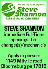 Steve Shannon immediate Full-Time openings. Tire changer(s)/mechanic's. Apply in person: 1149 Millville road Bloomsburg pa 17815