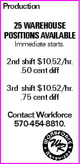 Production 25 Warehouse Positions available Immediate starts. 2nd shift $10.52/hr. .50 cent diff 3rd shift $10.52/hr. .75 cent diff Contact Workforce 570-454-8810.