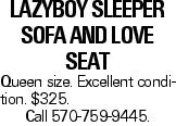 Lazyboy Sleeper Sofa and Love Seat Queen size. Excellent condition. $325. Call 570-759-9445.