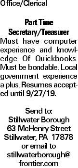 Office/Clerical Part Time Secretary/Treasurer Must have computer experience and knowledge Of Quickbooks. Must be bondable. Local government experience a plus. Resumes accepted until 9/27/19. Send to: Stillwater Borough 63 McHenry Street Stillwater, PA 17878 or email to stillwaterborough@ frontier.com