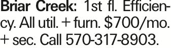 Briar Creek: 1st fl. Efficiency. All util. + furn. $700/mo. + sec. Call 570-317-8903.