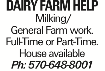 Dairy Farm help Milking/ General Farm work. Full-Time or Part-Time. House available Ph: 570-648-8001