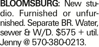 BLOOMSBURG: New studio. Furnished or unfurnished. Separate BR. Water, sewer & W/D. $575 + util. Jenny @ 570-380-0213.