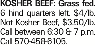 KOSHER BEEF: Grass fed. 6 hind quarters left. $4/lb. Not Kosher Beef, $3.50/lb. Call between 6:30 & 7 p.m. Call 570-458-6105.