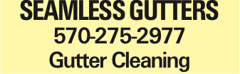 SEAMLESS GUTTERS 570-275-2977 Gutter Cleaning As published in the Press Enterprise.