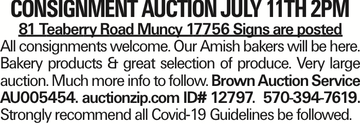 Consignment Auction July 11th 2PM 81 Teaberry Road Muncy 17756 Signs are posted All consignments welcome. Our Amish bakers will be here. Bakery products & great selection of produce. Very large auction. Much more info to follow. Brown Auction Service AU005454. auctionzip.com ID# 12797. 570-394-7619. Strongly recommend all Covid-19 Guidelines be followed. As published in the Press Enterprise.