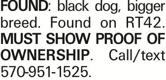 FOUND: black dog, bigger breed. Found on RT42. MUST SHOW PROOF OF OWNERSHIP. Call/text 570-951-1525. As published in the Press Enterprise.