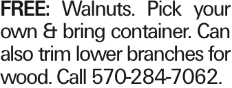 FREE: Walnuts. Pick your own & bring container. Can also trim lower branches for wood. Call 570-284-7062. As published in the Press Enterprise.