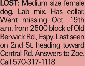 LOST: Medium size female dog. Lab mix. Has collar. Went missing Oct. 19th a.m. from 2500 block of Old Berwick Rd., Espy. Last seen on 2nd St. heading toward Central Rd. Answers to Zoe. Call 570-317-1118 As published in the Press Enterprise.