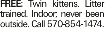 FREE: Twin kittens. Litter trained. Indoor; never been outside. Call 570-854-1474. As published in the Press Enterprise.