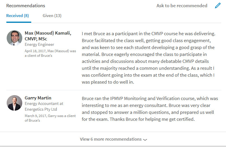 CMVP trainer LinkedIn recommendation