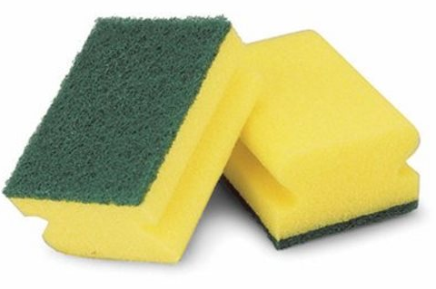 sponge with a scrubber