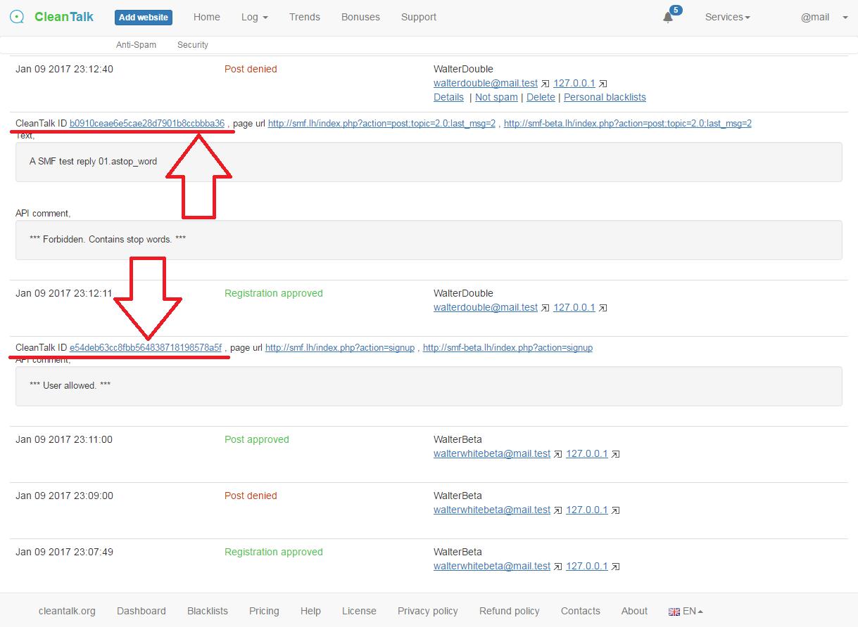 CleanTalk anti-spam log