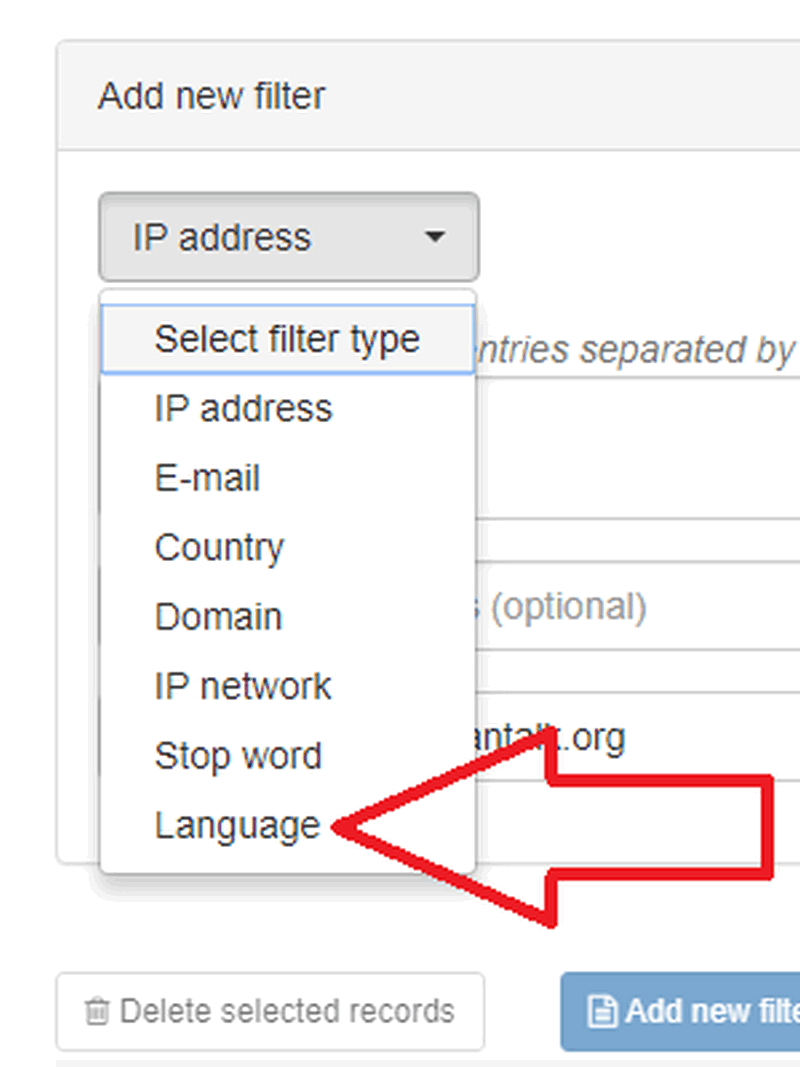 Anti-Spam filter by language