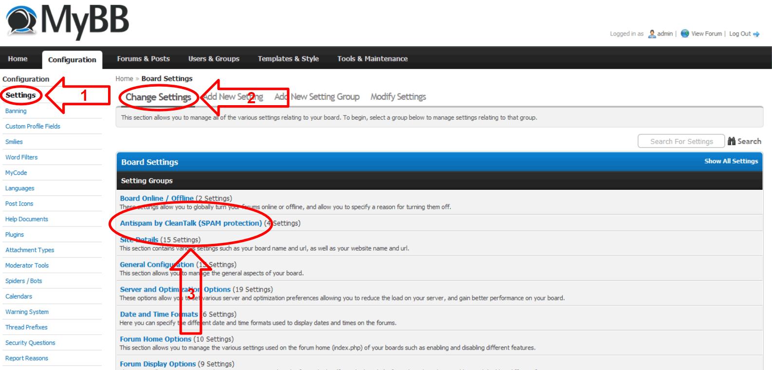 MyBB anti-spam plugin settings