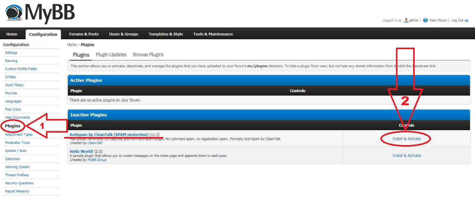 MyBB Backend Plugins CleanTalk Anti-Spam