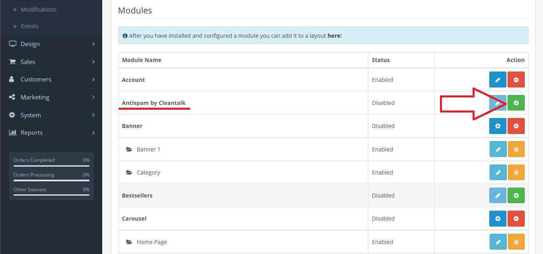 OpenCart anti-spam plugin install