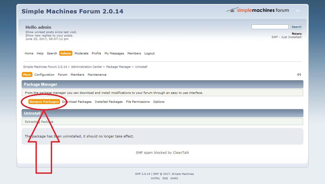 SMF anti-spam mod uninstall