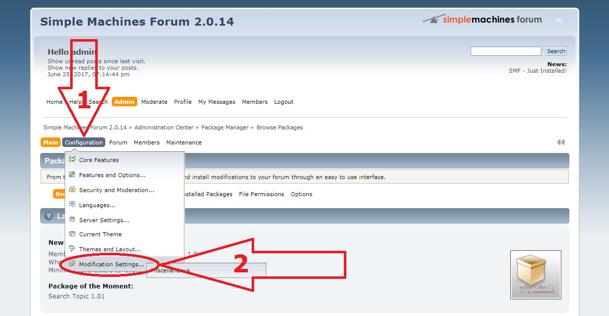 SMF anti-spam mod configure