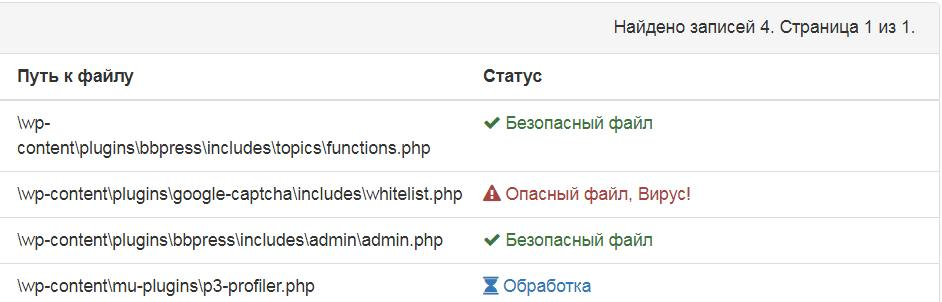 Статус файлов сервиса Безопасность