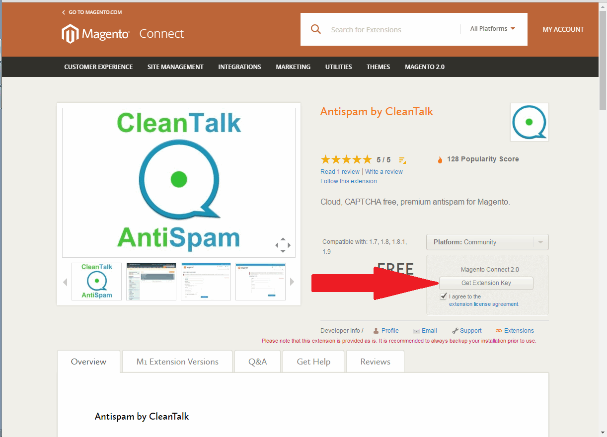 Magento CleanTalk extension key 02