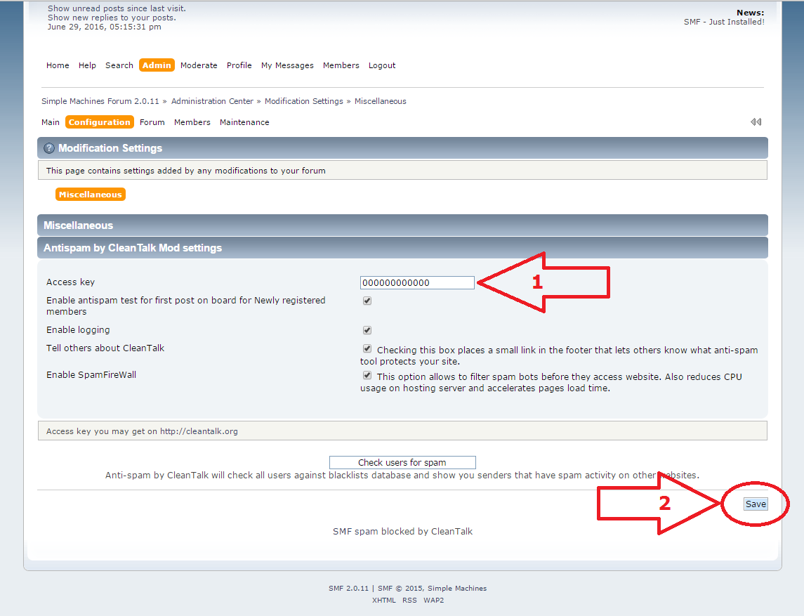 Simple Machines Forum CleanTalk Settings